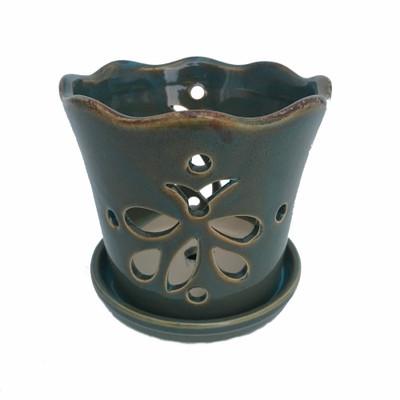"Butterfly Ceramic Orchid Pot/Saucer 5"" x 5"" - Ocean Teal - #50248"