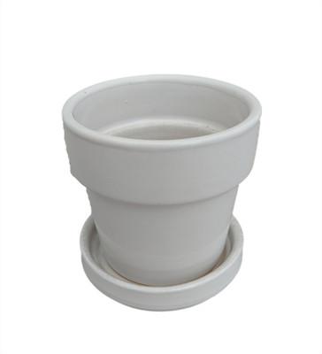 """Mini Ceramic Pot + Saucer - 2 3/4"""" x 2 3/4""""- White"""