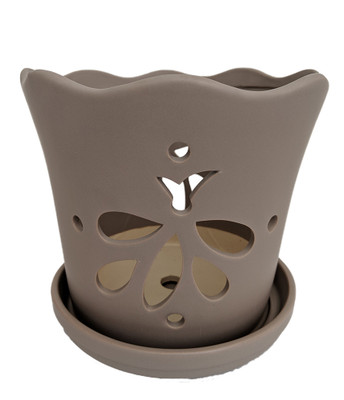 """Matte Grey Butterfly Ceramic Orchid Pot with Attached Saucer - 5"""" x 5"""""""