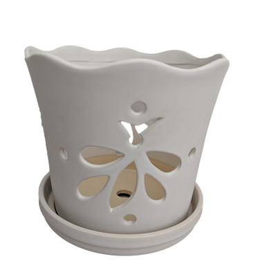 """Matte White Butterfly Ceramic Orchid Pot with Attached Saucer - 5"""" x 5"""""""