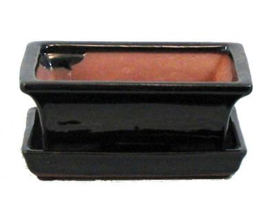 "Ceramic Bonsai Pot/Saucer - Dark Brown - 6 1/8"" x 4 1/2"" x 2"" + Felt Feet"