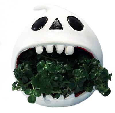 "Ghost Howler Halloween Indoor Garden Planter - 5"" Ceramic Vase/Live Plant"