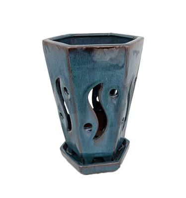 """High Style Ceramic Orchid Pot/Saucer - 6 1/8"""" x 8"""" - Dark Moss Green Hexagon"""