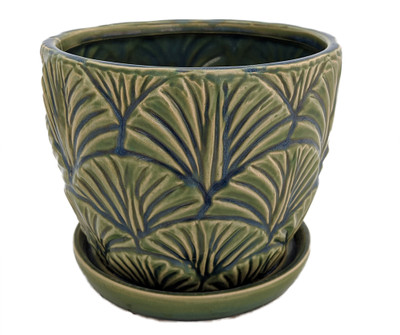 "Epsom Green Fan Planter Ceramic Pot with Attached Saucer - 7"" x 6"""