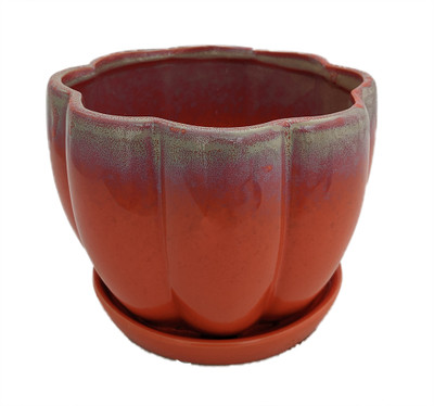 "Orange Petal Bowl Ceramic Pot with Attached Saucer - 7.5"" x 5.5"""