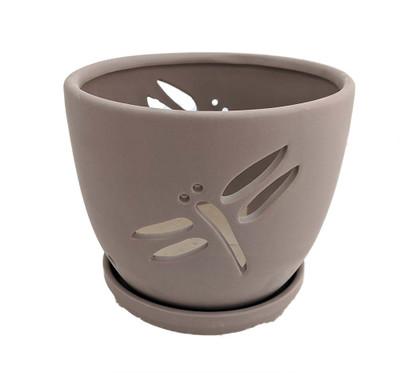 "Dragonfly Matte Gray Ceramic Orchid Pot and Saucer + Felt Feet - 7 1/4"" x 6"""
