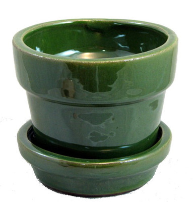 "Glazed Ceramic Pot/Saucer - Grass Green - 4 3/8"" x 4"" - #11934"