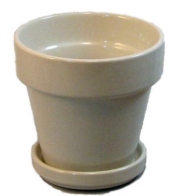 "Ceramic Pot and Saucer plus Felt Feet - Creamy White - 4.5"" x 4.3"""