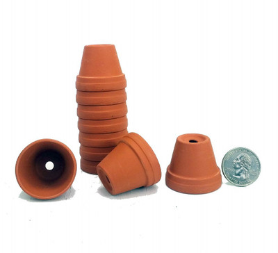 """10 - 1 3/8"""" Tiny Size Clay Pots - Great for Plants/Crafts/Fairy Gardens"""