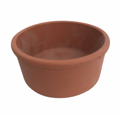 "3 - Red Clay Rolled Rim Planter Bowls  - 4.35"" x 1.95"" - Punch Hole for Drainage"