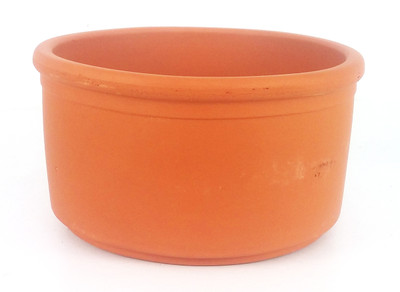 "5 - Red Clay Rolled Rim Planter Bowls  - 3.5"" x 2"" - Punch Hole for Drainage"