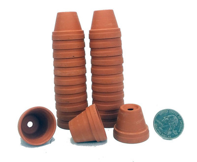 """25 - 1 1/8"""" Teensy Size Clay Pots - Great for Plants/Crafts/Fairy Gardens"""