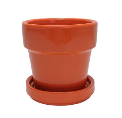 "Mini Ceramic Pot + Saucer - 2 3/4"" x 2 3/4""- Orange"