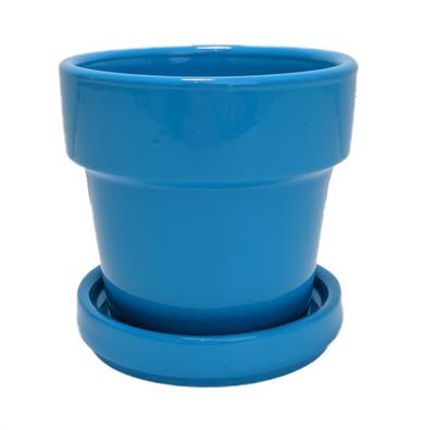 "Mini Ceramic Pot + Saucer - 2 3/4"" x 2 3/4""- Cyan Blue"