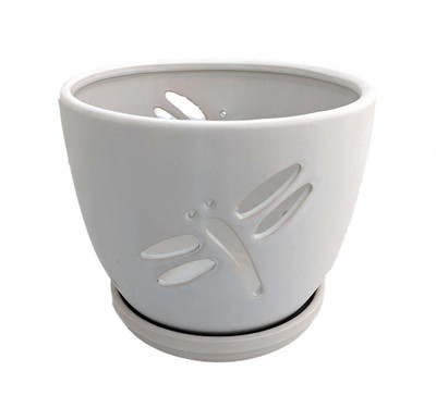 """Dragonfly Matte White Ceramic Orchid Pot and Saucer + Felt Feet - 7 1/4"""" x 6"""""""