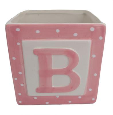 "Pink Baby Block Ceramic Planter - 3.75"" x 3.75"