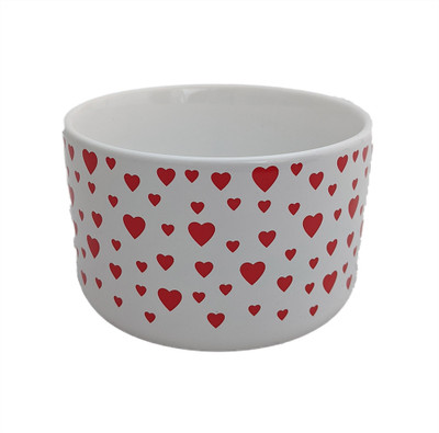 "Valentine Hearts Ceramic Planter - 5"" x 3"" - White with Red Hearts"