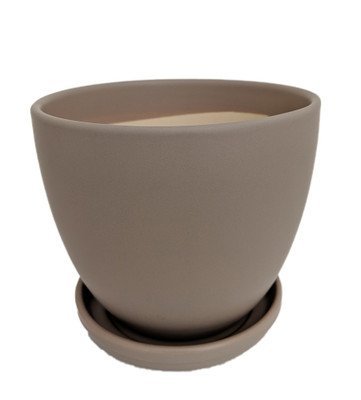 """Ceramic Egg Pot with Attached Saucer - Matte Grey - 7"""" x 6"""""""