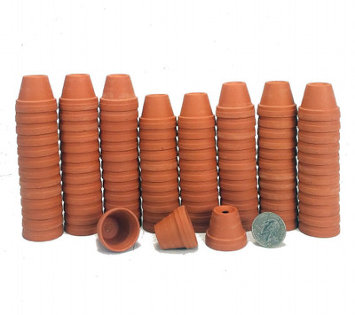 "100 - 1 1/8"" Teensy Size Clay Pots - Great for Plants/Crafts/Fairy Gardens"