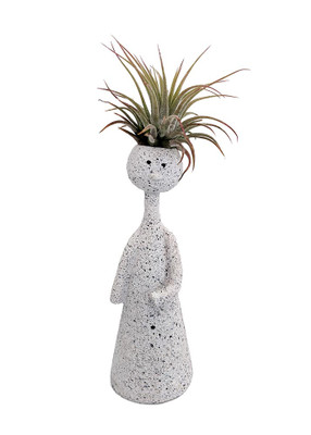 "BOLD Thinker Ceramic Vase/Living Air Plant - Speckled White - 2"" x 2"" x 7"""