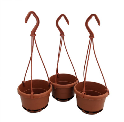 """4"""" Mini Hanging Baskets with Attached Saucers - 3 Pack - Terracotta Color"""