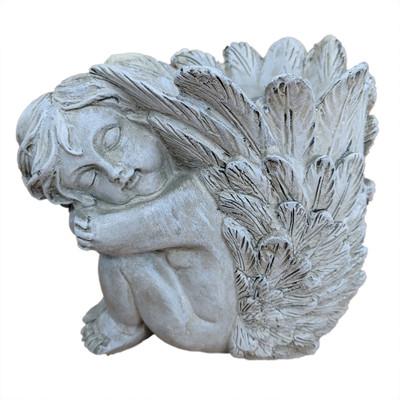 "Cherub Vase Planter with Liner - Girl - Left Facing - 4"" x 4.5"""
