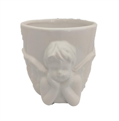 "Heavenly Cherub White Ceramic Planter - 4.25"" x 4"""
