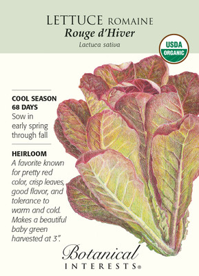 Organic Rouge d'Hiver Romaine Lettuce Seeds - 750 mg