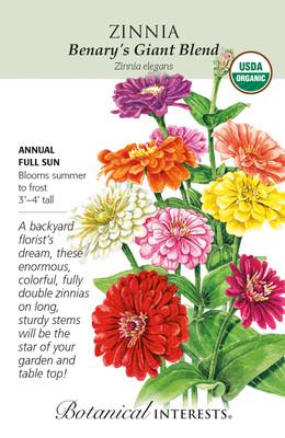 Organic Benary's Giant Blend Zinnia seeds - 500 Milligrams - Botanical Interests