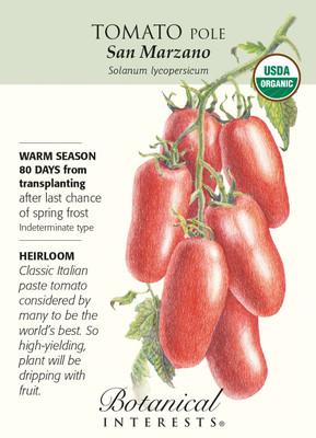 San Marzano Pole Tomato -30 Seeds - Certified Organic
