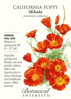 Mikado California Poppy Seeds - 1 gram - Perennial