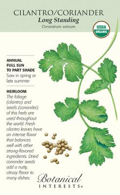 Organic Long Standing Cilantro Seeds - 12 grams - Botanical Interests