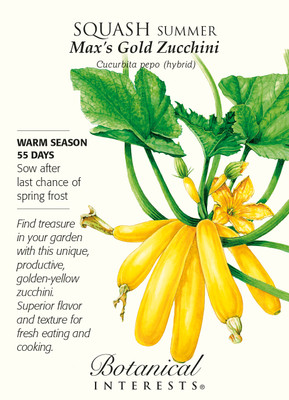 Max's Gold Zucchini Summer Squash Seeds - 1.5 grams - Botanical Interests
