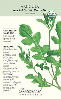 Organic Rocket Salad, Roquette Arugula Seeds - 3 grams