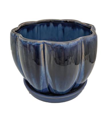 "Blue Petal Bowl Ceramic Pot with Attached Saucer - 7.5"" x 5.5"""