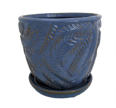 "Beach Fern Ceramic Pot with Attached Saucer - Blue Yonder - 7"" x 6.75"""