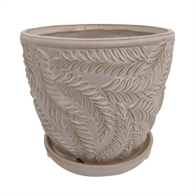 "Beach Fern Ceramic Pot with Attached Saucer - Moonstone - 7"" x 6.75"""