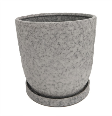 """Marbled Ceramic Egg Pot with Attached Saucer - 7"""" x 6.75"""""""