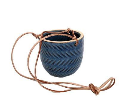 "Hanging Ceramic Egg Pot - Blue - 4.75"" x 4.5"""