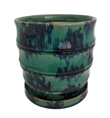 """Morrocroft Ceramic Egg Pot with Attached Saucer - 5.25"""" x 5"""" - Turquoise Tiered"""