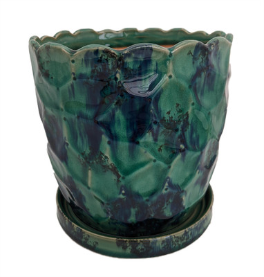 """Morrocroft Ceramic Egg Pot with Attached Saucer - 7"""" x 6.75"""" - Turquoise Pebbled"""