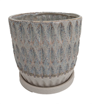 """Morrocroft Ceramic Egg Pot with Attached Saucer - 7"""" x 6.75"""" - Sky Leaf"""