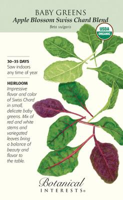 Organic Apple Blossom Swiss Chard Blend Baby Greens Seeds - 12 grams