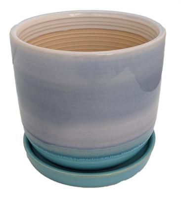"Horizon Dusk Ceramic Pot with Attached Saucer - 7.75"" x 7"""
