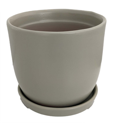 """Chatham Egg Pot with Attached Saucer - Matte Green - 5.5"""" x 5"""""""