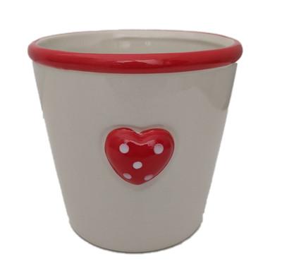 """Polka Dot Heart Ceramic Planter - 4"""" x 4.75"""""""