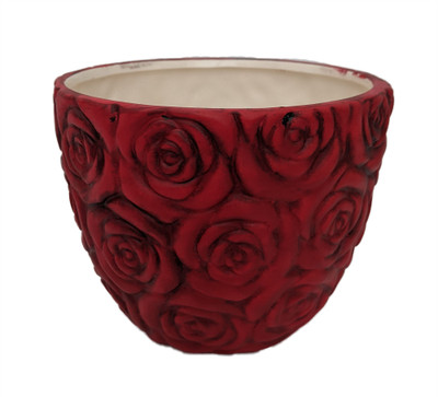 """Rose Red Ceramic Planter - 4.75"""" x 4"""""""
