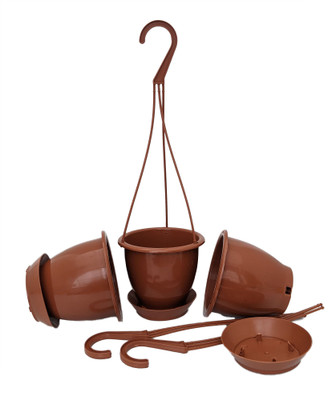 "Terracotta Color 4.5"" Hanging Baskets - 3 Pack - Removable Saucers"