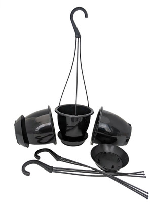 "Ebony Black 4.5"" Hanging Baskets - 3 Pack - Removable Saucers"