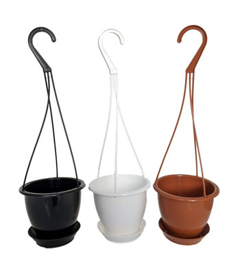 "3 Pack - 4.5"" Hanging Baskets with Saucers - 1 Black 1 White 1 Terracotta Color"